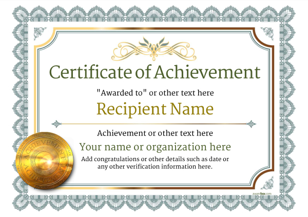 Free Printable Certificate Of Achievement Template 9