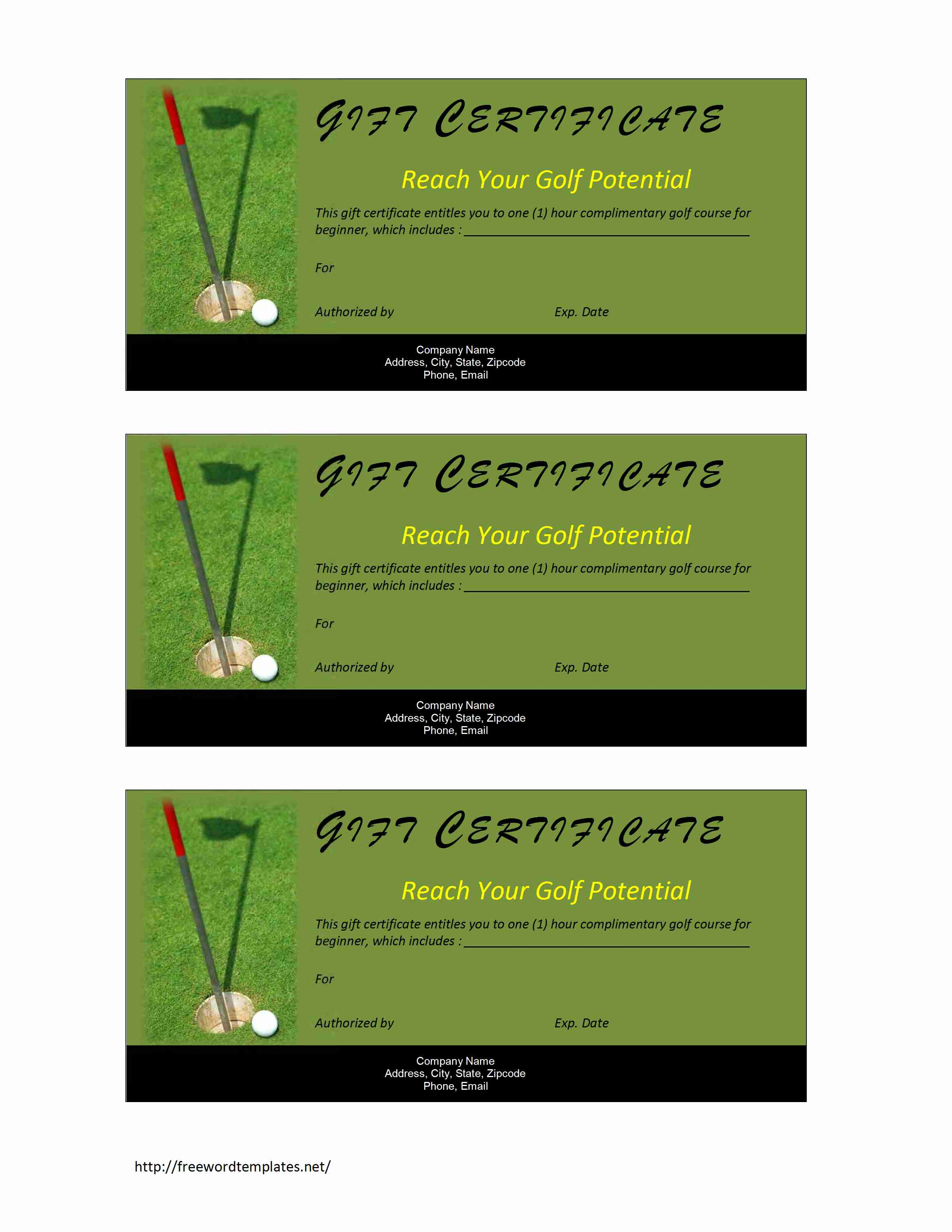 Golf Certificate Templates For Word 3