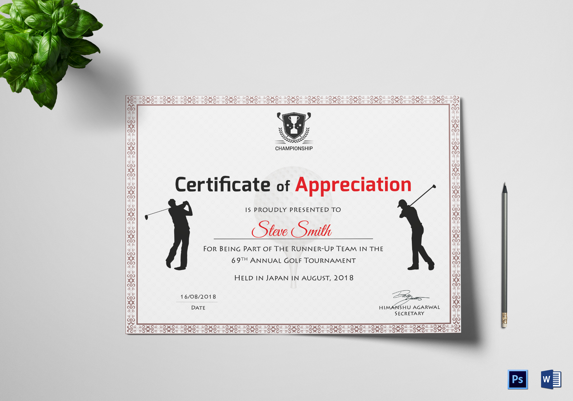 Golf Certificate Templates For Word 6