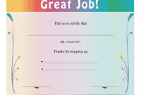 Good Job Certificate Template 2