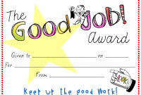 Good Job Certificate Template 3