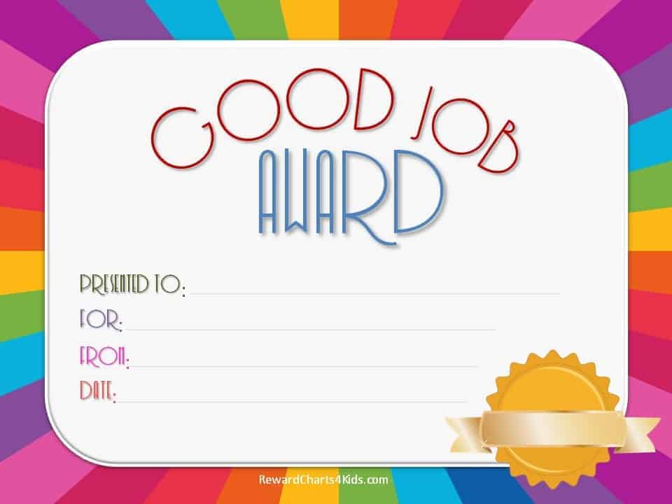 Good Job Certificate Template 4