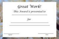 Good Job Certificate Template 6