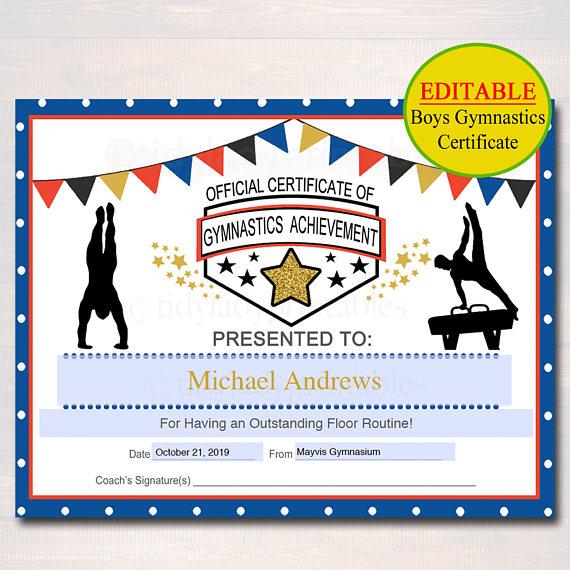 Gymnastics Certificate Template 6