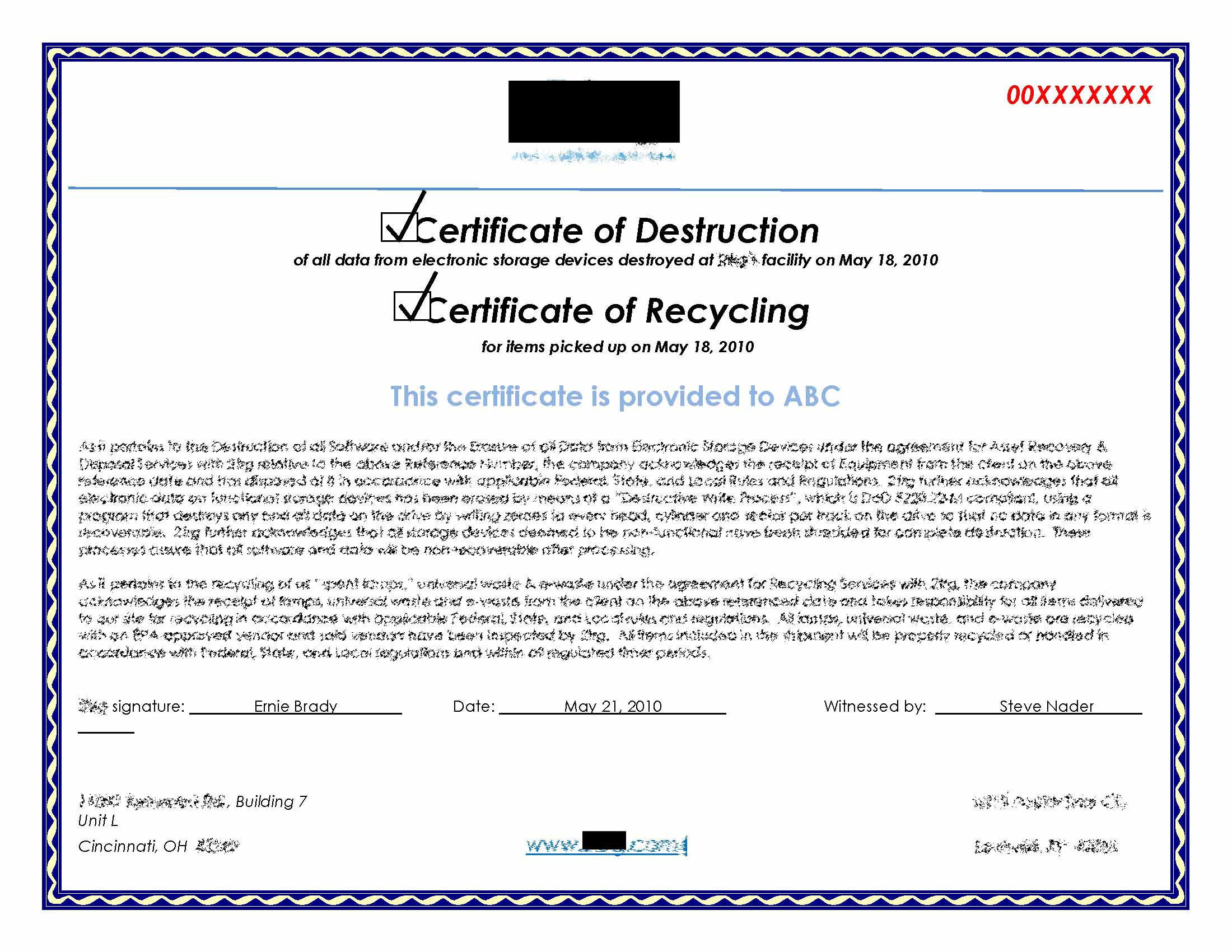 Hard Drive Destruction Certificate Template 6