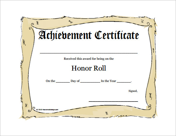 Honor Roll Certificate Template 10