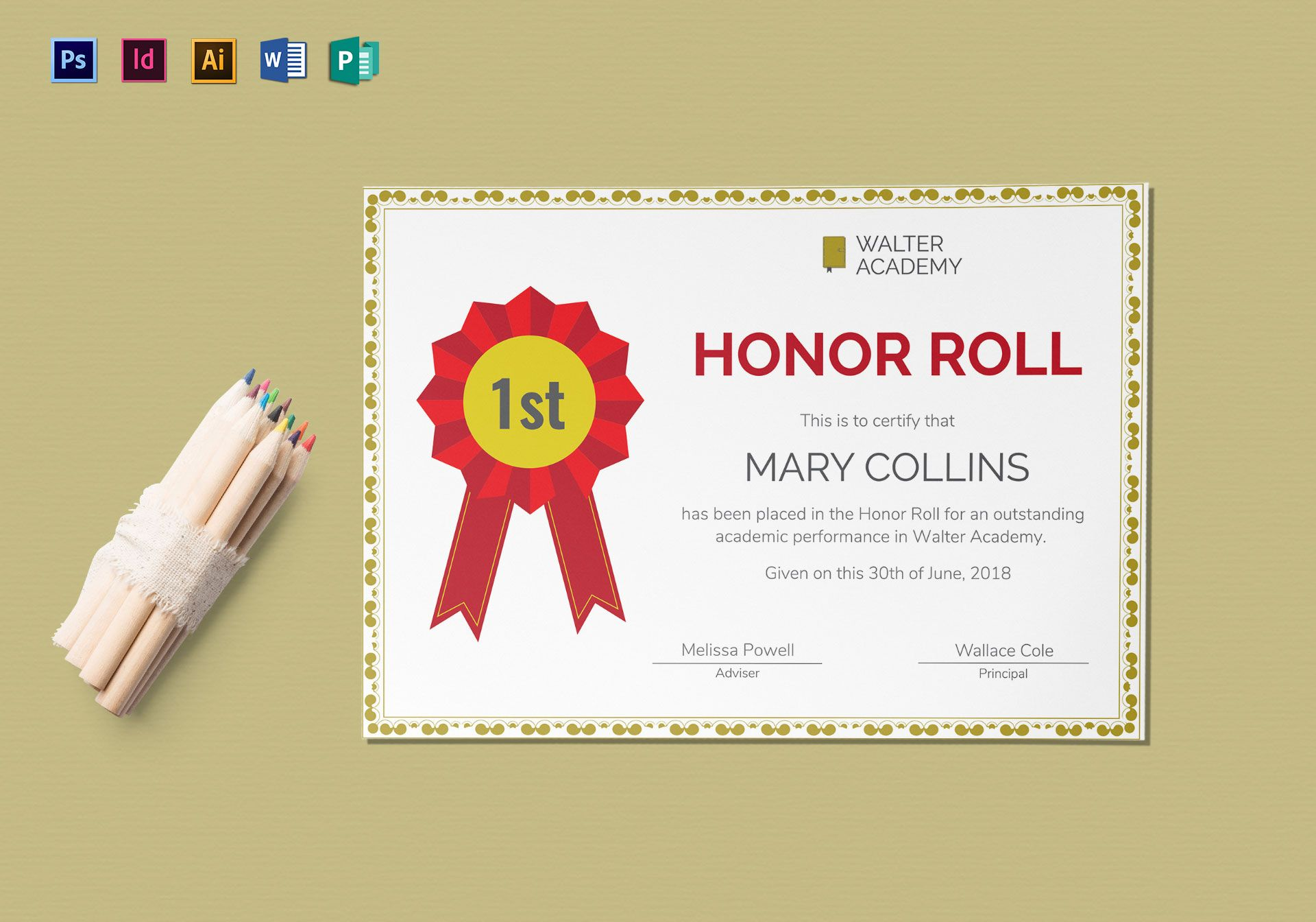 Honor Roll Certificate Template 9