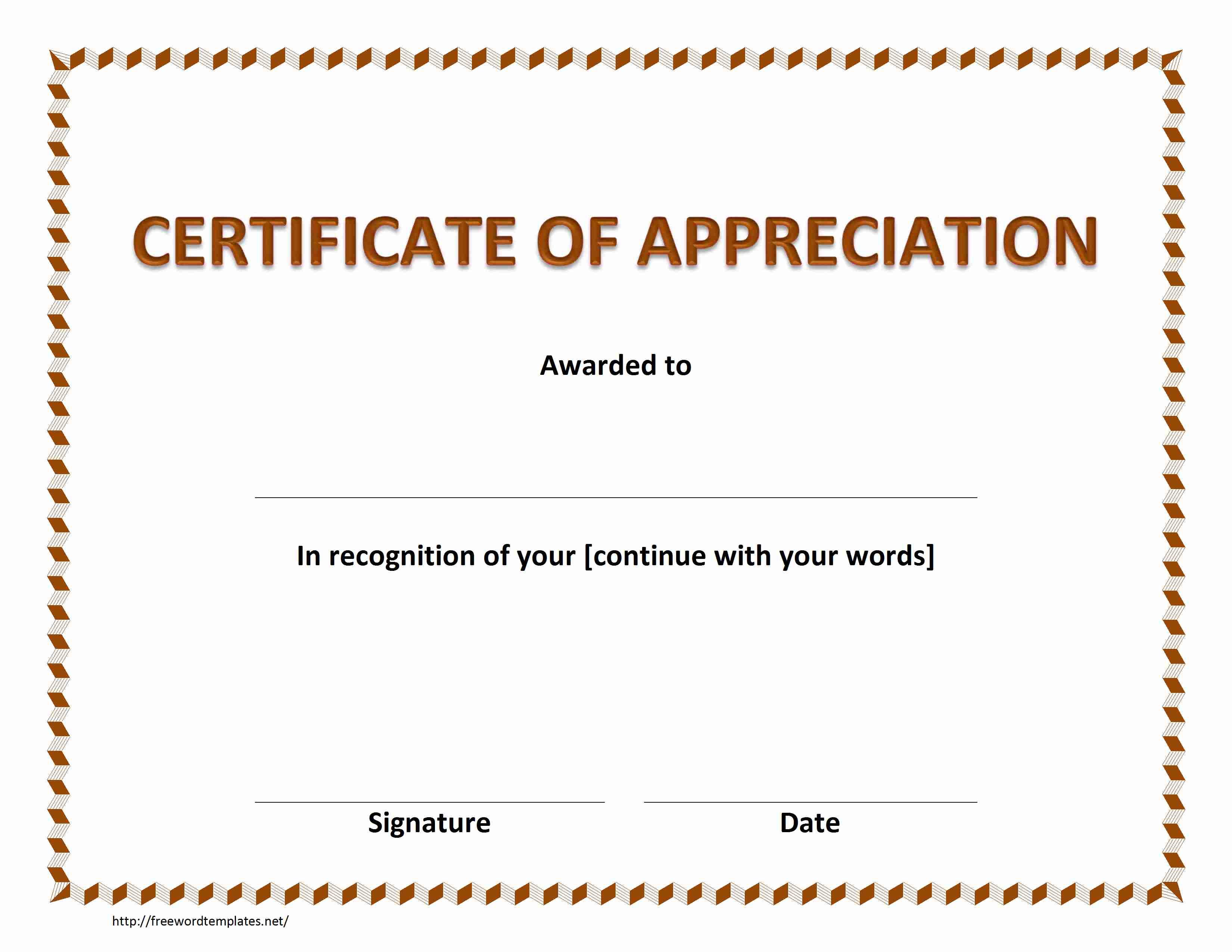 In Appreciation Certificate Templates 2
