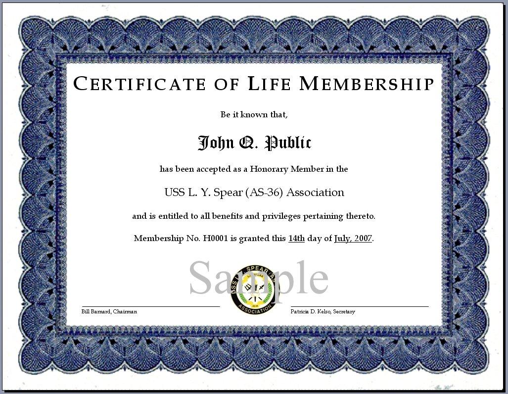 Life Membership Certificate Templates 5