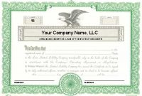 Llc Membership Certificate Template Word 10