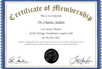 Membership Certificate Template Sample