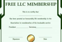 Llc Membership Certificate Template Word 6