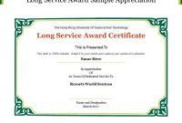 Long Service Certificate Template Sample 3