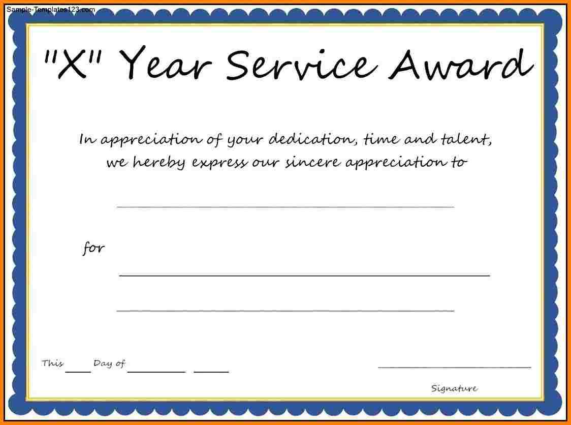 Long Service Certificate Template Sample 9