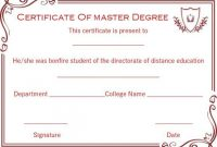 Masters Degree Certificate Template 4