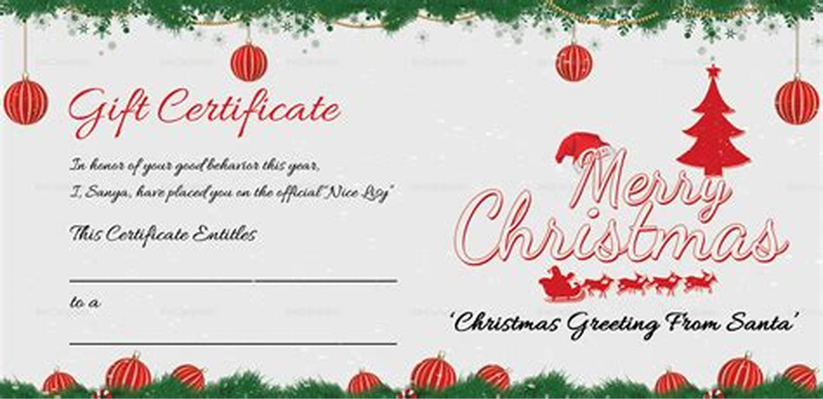 Merry Christmas Gift Certificate Templates 2