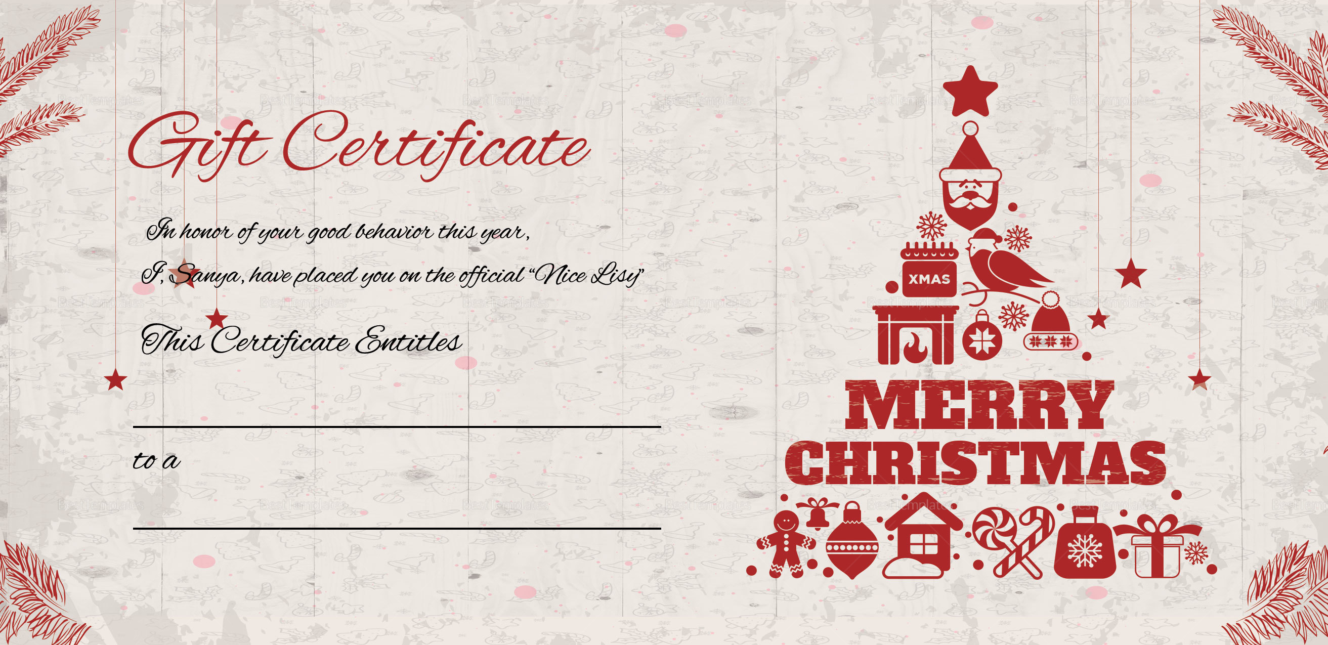 Merry Christmas Gift Certificate Templates 3