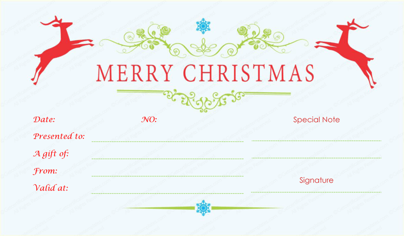 Merry Christmas Gift Certificate Templates 4