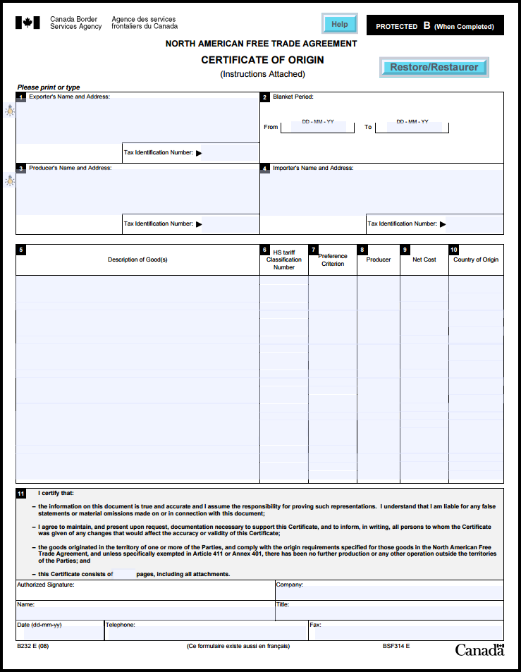 Nafta Certificate Template 4