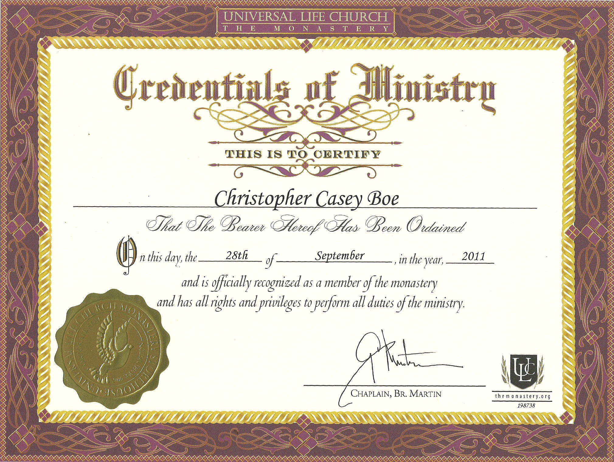 Ordination Certificate Templates 5