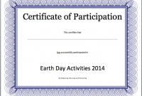 Participation Certificate Templates Free Download 2