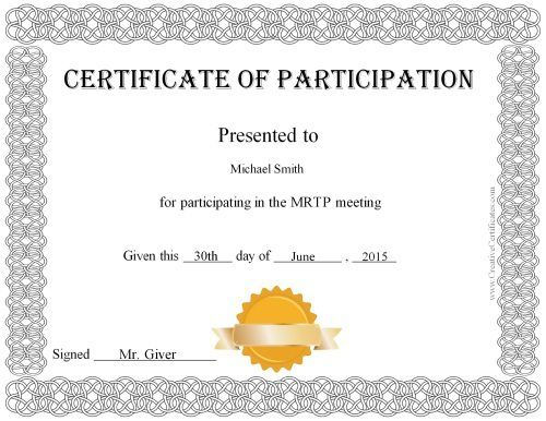Participation Certificate Templates Free Download 5