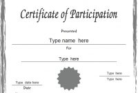Participation Certificate Templates Free Download 9