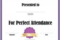 Perfect attendance Certificate Free Template 3