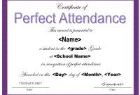 Perfect attendance Certificate Free Template 5