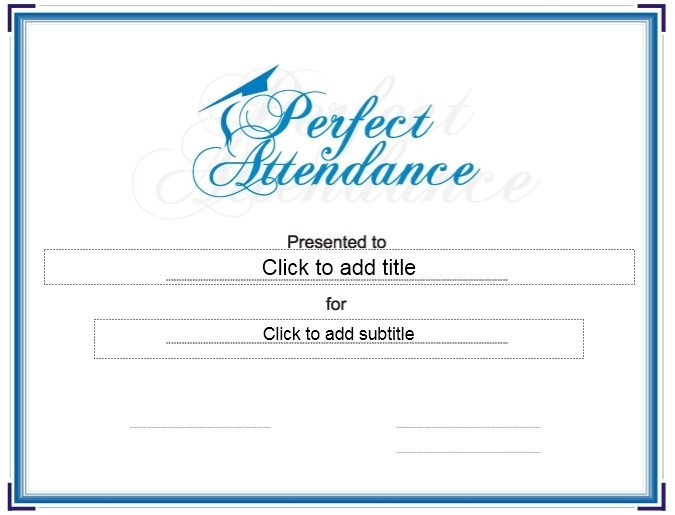 Perfect Attendance Certificate Free Template 7