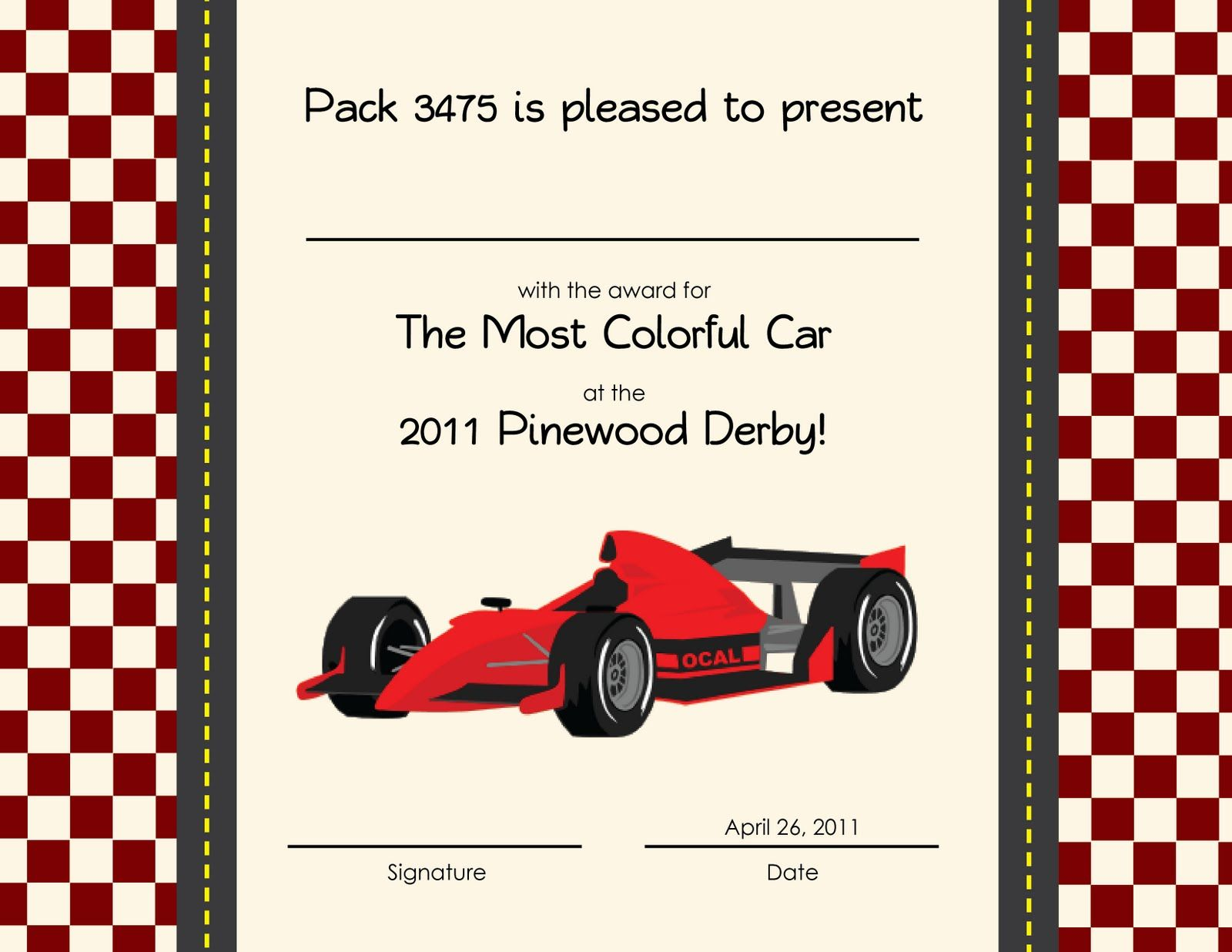 Pinewood Derby Certificate Template 11