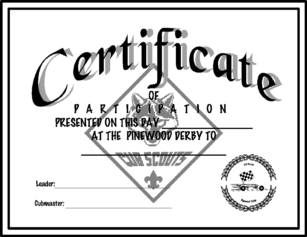 Pinewood Derby Certificate Template 7