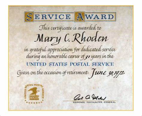 Recognition Of Service Certificate Template 3