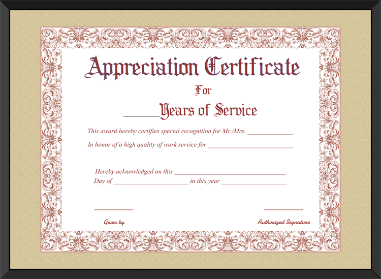 Recognition Of Service Certificate Template 4