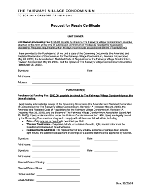 Resale Certificate Request Letter Template 8