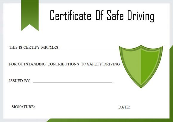 Safe Driving Certificate Template 10
