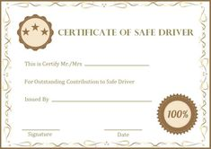 Safe Driving Certificate Template 2