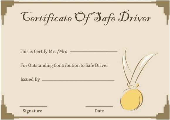 Safe Driving Certificate Template 5
