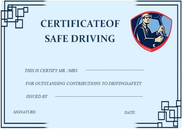 Safe Driving Certificate Template 6
