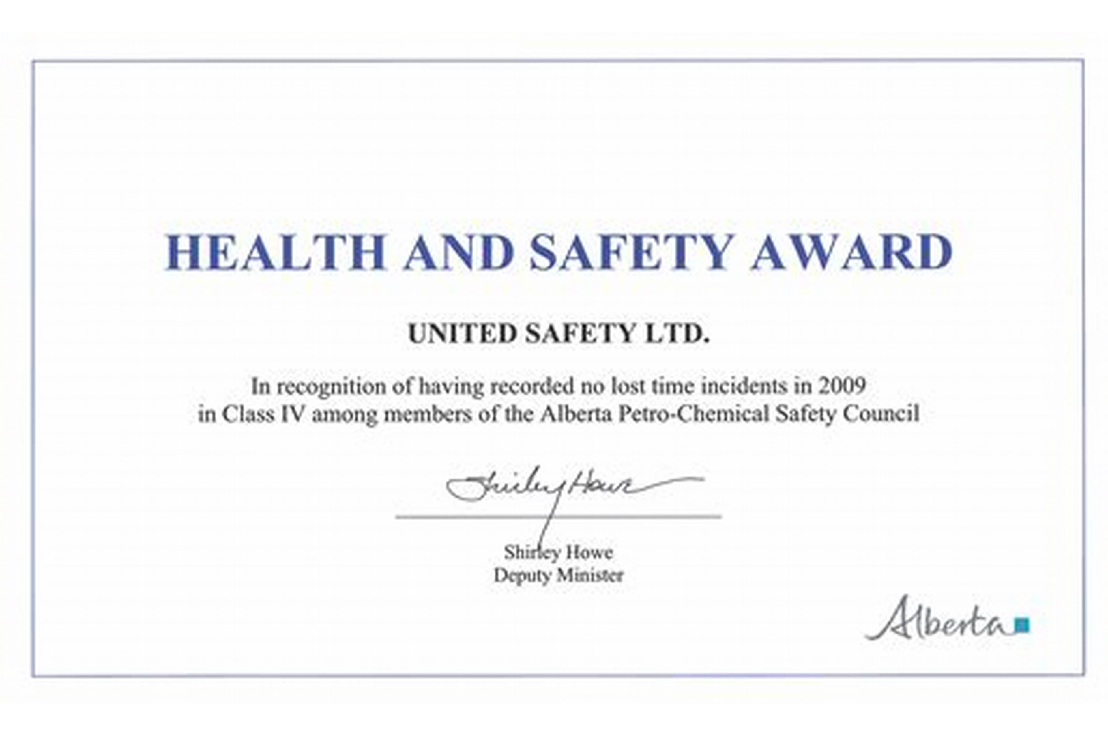 Safety Recognition Certificate Template 7