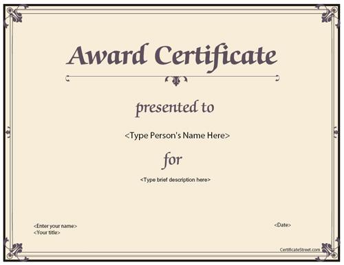 Sample Award Certificates Templates 6