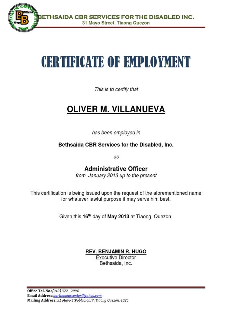 Sample Certificate Employment Template 4