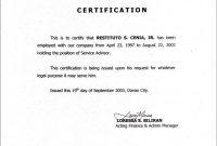 Employment Certificate Sample