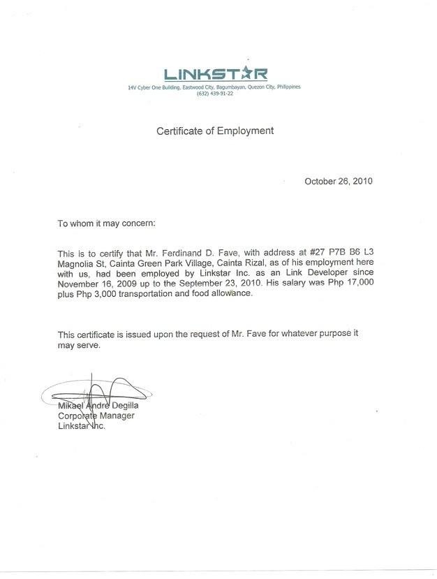 Sample Certificate Employment Template 6