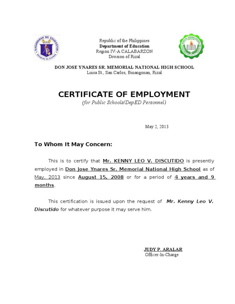 Sample Certificate Employment Template 7
