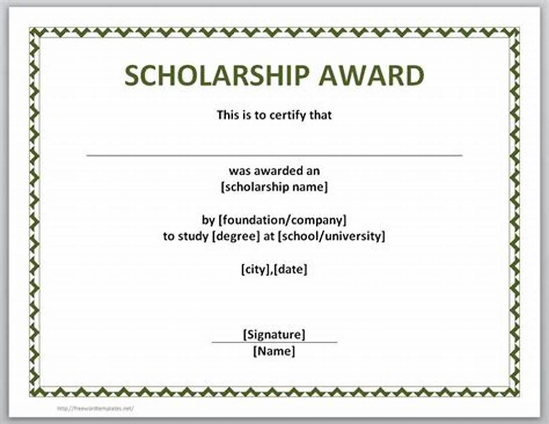 Scholarship Certificate Template Word 2