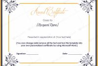 Scholarship Certificate Template Word 4