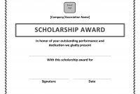 Scholarship Certificate Template Word 7