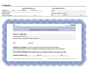 Share Certificate Template Companies House 9