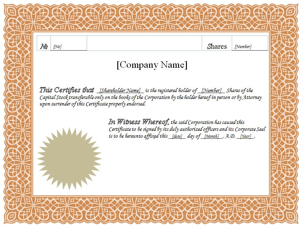 Share Certificate Template Pdf 11